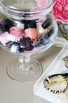 nail polish storage via apothecary jars