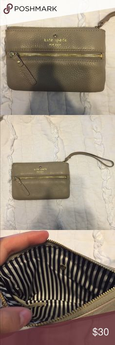 Kate Spade wristlet This brown/gray wristlet is beautiful and would go with anything! kate spade Bags Clutches & Wristlets