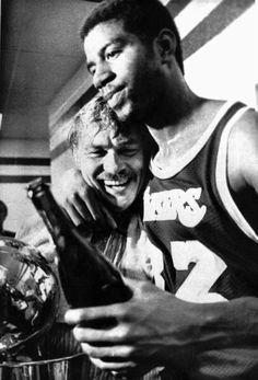 Jerry Buss and Magic Johnson after winning a championship. Magic Johnson, Joe Johnson, I Love Basketball, Basketball Teams, Shaquille O'neal, Jerry Buss, James Worthy, Kobe Lebron, I Love La
