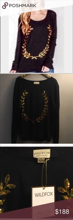 WILDFOX COUTURE White Label SEQUIN Crest Sweater NWT WILDFOX COUTURE White Label SEQUIN Crest Hero WREST SWEATER BLACK  Viscose/Polyester/Angora blend BLACK with gold sequin wreath decoration on front Crew neck, long sleeves Wildfox Sweaters Crew & Scoop Necks