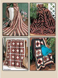 6 traditional Navajo patterns are crocheted in warm sunset and desert shades. These stunning patterns use diamonds, stripes, squares, shells, strips, and quilt and granny square blocks. All are made using worsted-weight yarn.