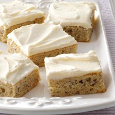Banana Bars with Cream Cheese Frosting Recipe - I make these moist bars whenever I have ripe bananas on hand, then store them in the freezer to share later at a potluck. With creamy frosting and big banana flavor, this treat is a real crowd-pleaser. Brownie Desserts, Mini Desserts, Just Desserts, Delicious Desserts, Desserts With Bananas, Apple Desserts, Baking Desserts, Cake Baking, Health Desserts