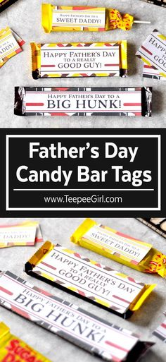 Free Father's Day candy tags from TeepeeGirl.com! They will make your Father's Day gift-giving easy, fun, & cute! #fathersday #fathersdayprintable #fathersdaygift