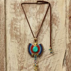 Woven wax cotton tribal pendant with turquoise by cafeandshiraz