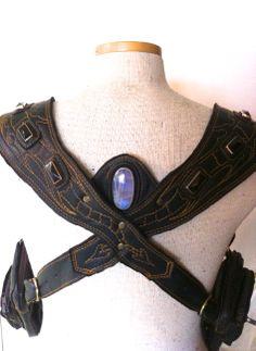 #leather #holsters #gems #moonstone #labradorite #rainbowobsidian #brass #dragons #ulantia #magic