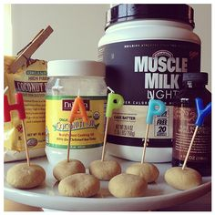Just in time for a #birthday! Enjoy our #Cake Batter Birthday Bites. 1/2 cup Cake Batter #MuscleMilk Light 2 tbsp coconut flour 1 tbsp melted coconut oil 6 - 8 tbsp water Vanilla extract (optional) Stevia/sweetener (optional) Combine all ingredients in a bowl. Stir to mix (The mixture should be be really thick/moldable). If it's too dry add more water, if it's too thin add more coconut flour. Roll into bite sized balls and refrigerate for an hour. Enjoy and #HappyBirthday! #givemestrength