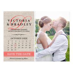 Leinwand-korallenrotes Hochzeits-Kalender-Foto Postkarte