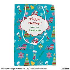 Holiday Collage Pattern on Blue Personalized Medium Gift Bag