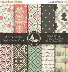 40% Off Antoinette Paper Pack - 10 Printable Digital papers - 12 x12 - 300 DPI SheryKDesigns 1.50 USD