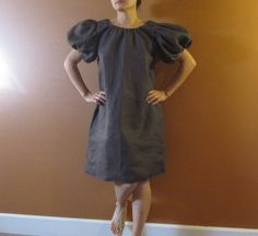 custom linen puffy sleeve tunic dress made by annyschooecoclothing, $128.00