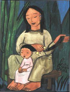 "Leo Politi original watercolor captioned ""Mother combing girl's hair"""