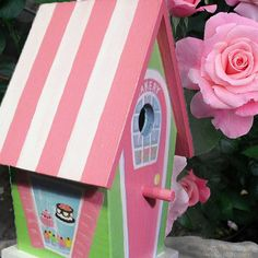 Hand Painted Birdhouse  Whimsical Bakery by PaintBrushedBoutique, $51.00
