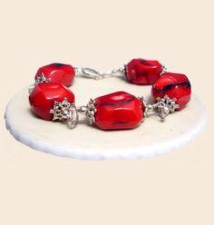 Coral Bracelet, Red Irregular Bracelet, 925 Silver Bracelet, Handmade Bracelet, Natural Stones Bracelet, Jewelry, Taurus, Pisces Bracelet de ArtGemStones en Etsy