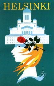 Travel Poster - Helsinki - Finland - by Martti Mykkänen. Finland Travel, Pub, Travel Cards, Retro Illustration, Old Ads, Advertising Poster, Vintage Travel Posters, Helsinki, Illustrators