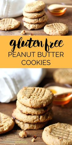 Gluten Free Peanut Butter Cookies are healthy cookies with no flour and no refined sugar that tastes out of this world!  A clean, low carb recipe! | GF