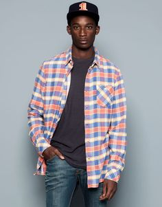 Pull&Bear - man - shirts - check print shirt with back pleat - orange - 09472512-I2014