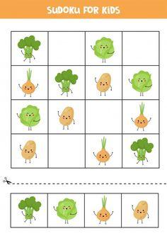 Sudoku for kids with cute kawaii vegetab...   Premium Vector #Freepik #vector #kids #puzzle #game #vegetable Sudoku Puzzles, Puzzles For Kids, Worksheets For Kids, Educational Games For Kids, Activities For Kids, Vegetable Cartoon, Cartoon Sea Animals, Monster Cards, Newspaper Crafts