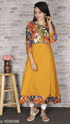 Kurtis & Kurtas Women Crepe Flared Printed Mustard Kurti Fabric: Crepe Sleeves: Sleeves Are Included Chest Size : S- 36 in M- 38 in L- 40 in XL- 42 in XXL - 44 in XXXL - 46 in 4XL - 48 in 5XL - 50 in 6XL - 52 in 7XL - 54 in Length: Up To 48 in Type: Stitched Description: It Has 1 Piece Of Women's Kurti  Work : Printed Country of Origin: India Sizes Available: XS, S, M, L, XL, XXL, XXXL, 4XL, 5XL, 6XL, 7XL   Catalog Rating: ★4 (76523)  Catalog Name: Women Crepe Flared Printed Yellow Kurti CatalogID_127705 C74-SC1001 Code: 203-1049186-609
