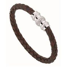 Fashion Brown Homme Large Plain coutures en cuir véritable bracelet manchette Pin Fermoir