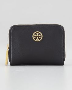 Tory Burch Robinson Zip-Around Coin Purse, Black - Neiman Marcus (has 2 card slots, 2 compartments and a key fob inside)