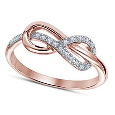 14k Rose Gold Gp 925 Silver White Diamond Infinity Ring Fashion Jewelry #Affoin8 #Infinity