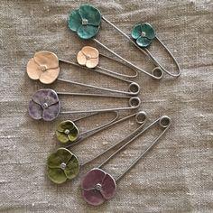 Painted Metal Flower Brooch