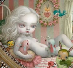 I like the paintings of Mark Ryden . They are a bit quirky, freaky, but also innocent and sweet. I am thinking of buying a painting or print. Mark Ryden, Creepy Art, Old Toys, Big Eyes, Tinkerbell, Art Inspo, Illusions, Disney Characters, Fictional Characters