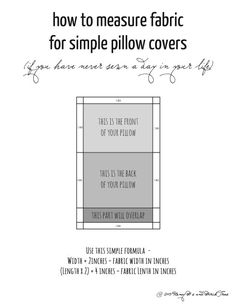 "DIY ""how to measure"" material for throw pillow covers"