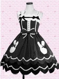 Polka Dot Sleeveless Gothic Lolita Dress Black White