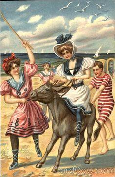 San Diego CA Greetings From San Diego Bathing Beauties on a Donkey Vintage Artwork, Vintage Prints, Vintage Pictures, Vintage Images, Bathing Costumes, Beach Costumes, Pin Up, Bathing Beauties, Vintage Postcards