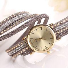 SmileOMG Hot Marketing Women Crystal Rivet Bracelet leather Band Quartz Braided Winding Wrap WristWatch Free Shipping,Sep 2