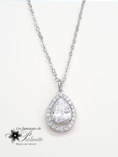 Collier mariage pendentif goutte ajourée. Bridal cz pear necklace.