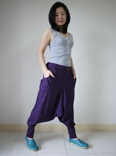 Men Women Funky Ninja Harem Purple Stretch Cotton Drop Crotch Pants With 6 Pockets