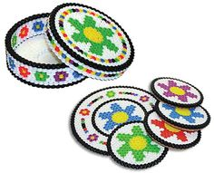 This colorful flower coaster set is fun and easy to create with Perler Beads. Change the colors or pattern to make the set uniquely your own design. Makes a great gift!