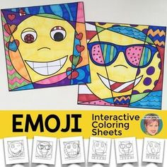 Emoji Expression Coloring sheets - interactive and pattern-filled Pop Art…