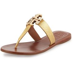 Tory Burch Moore 2 Flat Leather Thong Sandal (10,890 DOP) ❤ liked on Polyvore featuring shoes, sandals, gold, flat leather sandals, thong sandals, flat pumps, leather flats and metallic thong sandals