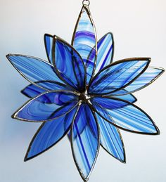 3D gekleurd glas Suncatcher In volle bloei blauwe door LAGlass