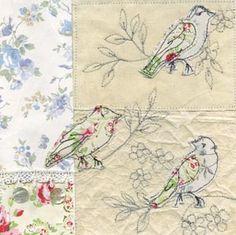 bird free hand machine embroidery