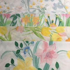 Mismatched Vintage Floral Pillowcases Pastel Yellow Pink Green Tulips Daffodils Flowers Set of 4 Standard Pillow Cases by EastWestVintage1 on Etsy