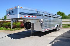 Stock Trailer with Stainless Steel and Polished Aluminum. Trailers, Stock Trailers, Show Cattle 5th Wheel Trailers, Best Trailers, Custom Trailers, Trailers For Sale, Livestock Trailers, Horse Trailers, Dream Barn, My Dream Home, Show Cattle