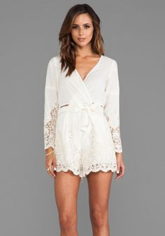 cade067001c4 Keeper Broidery Wrap Playsuit in Cream - Lyst Wrap Playsuit