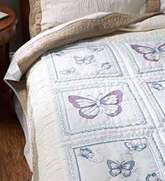 Bucilla ® Stamped Cross Stitch - Quilt Blocks - Butterfly