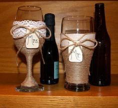 Wedding Wine Glass and Beer Glass / Rustic by CarolesWeddingWhimsy, This is a set of Rustic Wedding Wine Glass and a Beer Glass.  They are wrapped in jute and twine.  The Wine glass has crochet lace.  They both have a wood tag shaped like a  mason jar to monogram  Mr and Mrs Wedding Glasses.  You can find them here  https://www.etsy.com/listing/268394632/wedding-wine-glass-and-beer-glass-rustic