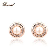 2017 Romad Charms Round Milky Pearls Crystal Stud Earrings Rose Gold Color Wedding Beads Jewelry For Romantic Mother's Gifts