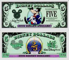 1997 $5 Top Hat Goofy Disney Dollar Disney Money, Disney Diy, Disney Dream, Disney Magic, Goofy Disney, Disney Cast, Walt Disney, Disney Stuff, Vintage Disneyland