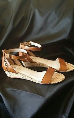 22e1a335ea2e Wythe Ny Tan Leather Ankle Strap Wedge Sandals Size 39 Leather Buckle