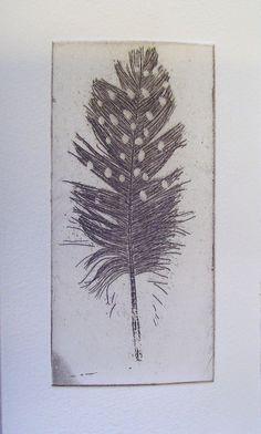 Original Etching of a spotted feather,hand pulled. $9.49, via Etsy.