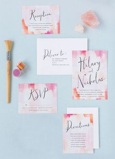 Gallery Love, by Minted artist Melanie Severin, offers brides the chance to plan chic gallery inspired, painted watercolor background highlights couple wedding theme in a fresh and modern way.