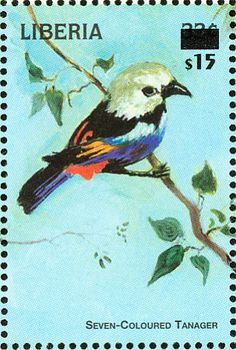 Seven-colored Tanager stamps - mainly images - gallery format