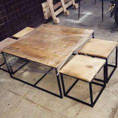 Mesa Ratona/banquetas/hierro Y Madera/diseño Cubo/nido - $ 7.700,00